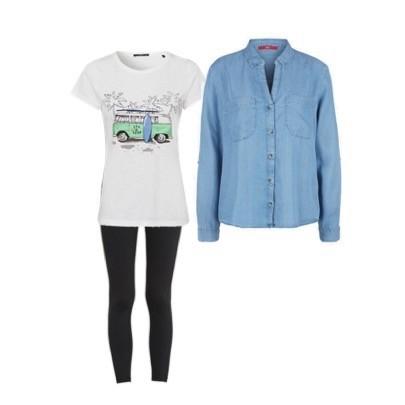 Variante 2. Leggings oder Hose mit einem T-Shirt und Hemd (offen tragen). Es streckt die Figur