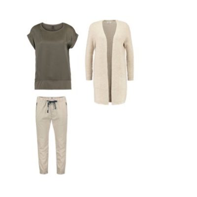 Variante 3. Hose mit einem Oberteil und Cardigan